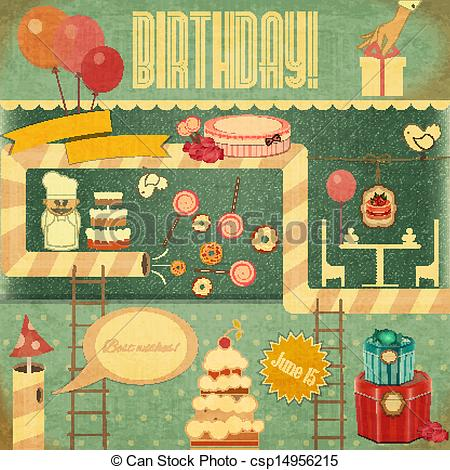 Vintage birthday card clipart banner freeuse stock Retro Birthday Card banner freeuse stock