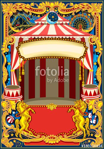 Vintage birthday invitation clipart image royalty free stock Circus poster theme. Vintage frame with circus tent for kids ... image royalty free stock