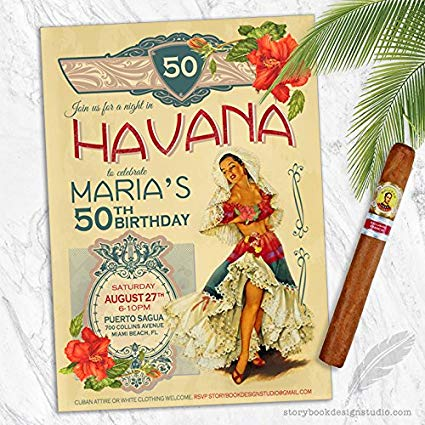 Vintage birthday invitation clipart picture freeuse Havana Nights Birthday Party Invitations (Set of 10) Personalized picture freeuse