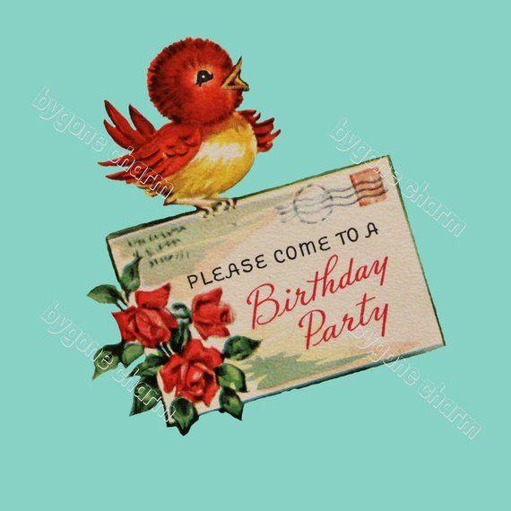 Vintage birthday invitation clipart svg royalty free stock Vintage BIRDIE BIRTHDAY Invitation Clip Art Birthday Party ... svg royalty free stock