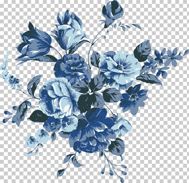 Vintage blue flower clipart vector library stock Flower Blue , floral vintage, blue and grey flowers ... vector library stock