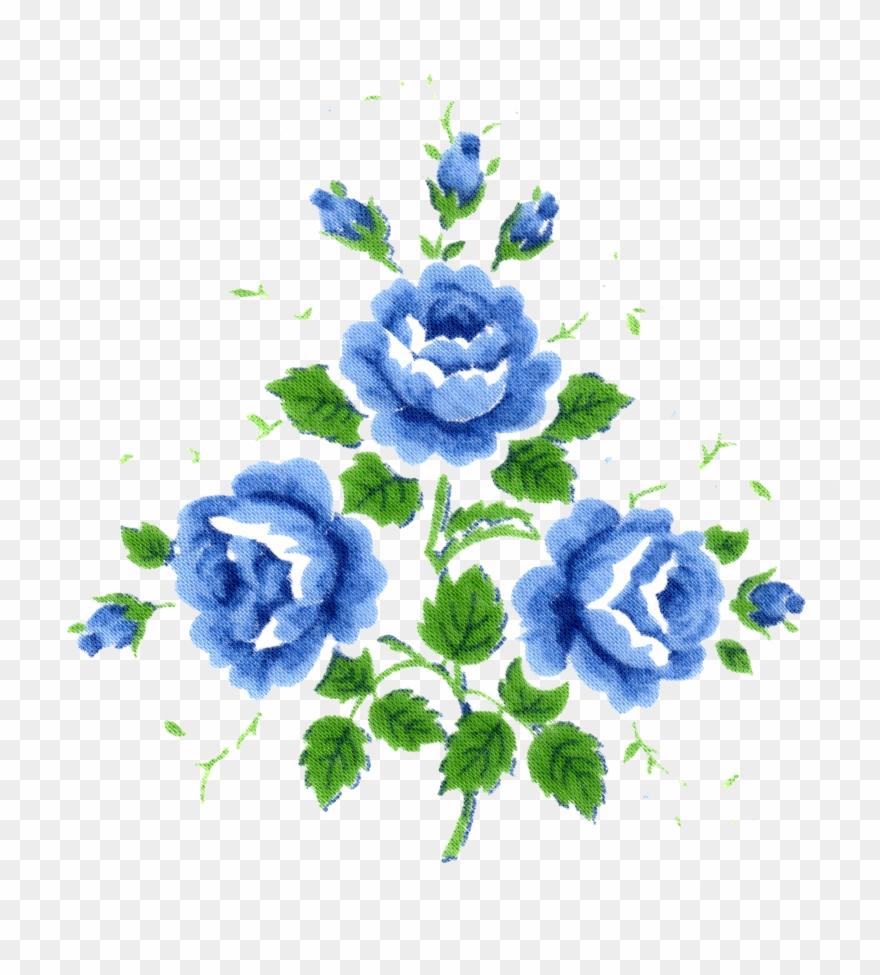 Vintage blue flower clipart vector freeuse library Free Digital Vintage Hankie Flowers Free Pretty Things ... vector freeuse library