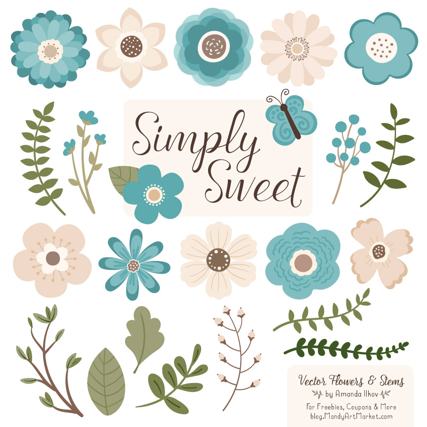 Vintage blue flower clipart png library Vintage Blue Flower Clipart png library