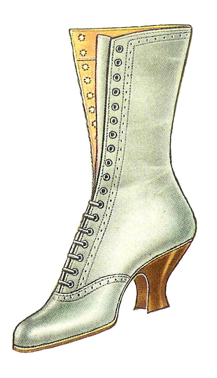 Vintage boot clipart svg free Antique Images: Free Fashion Clip Art: Vintage 1917 White ... svg free