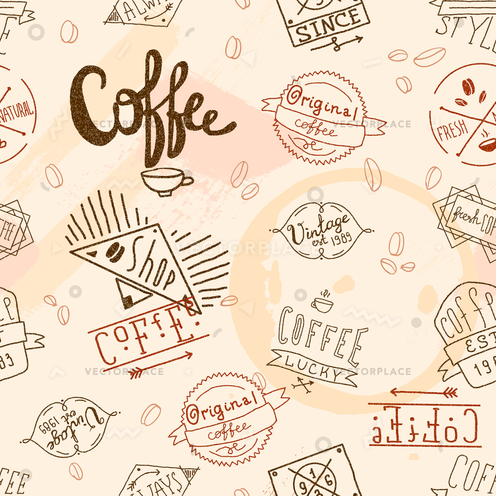 Vintage cafe restaurant clipart banner library stock Vintage retro coffee stamp seamless pattern for cafe restaurant wallpaper  design vector illustration banner library stock