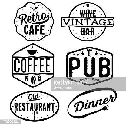 Vintage cafe clipart image library download Set of Vintage Cafe ,pub,wine Bar and Restaurant Emblems ... image library download