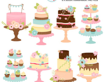 Vintage cake clipart clipart stock Floral cakes clipart | Etsy clipart stock
