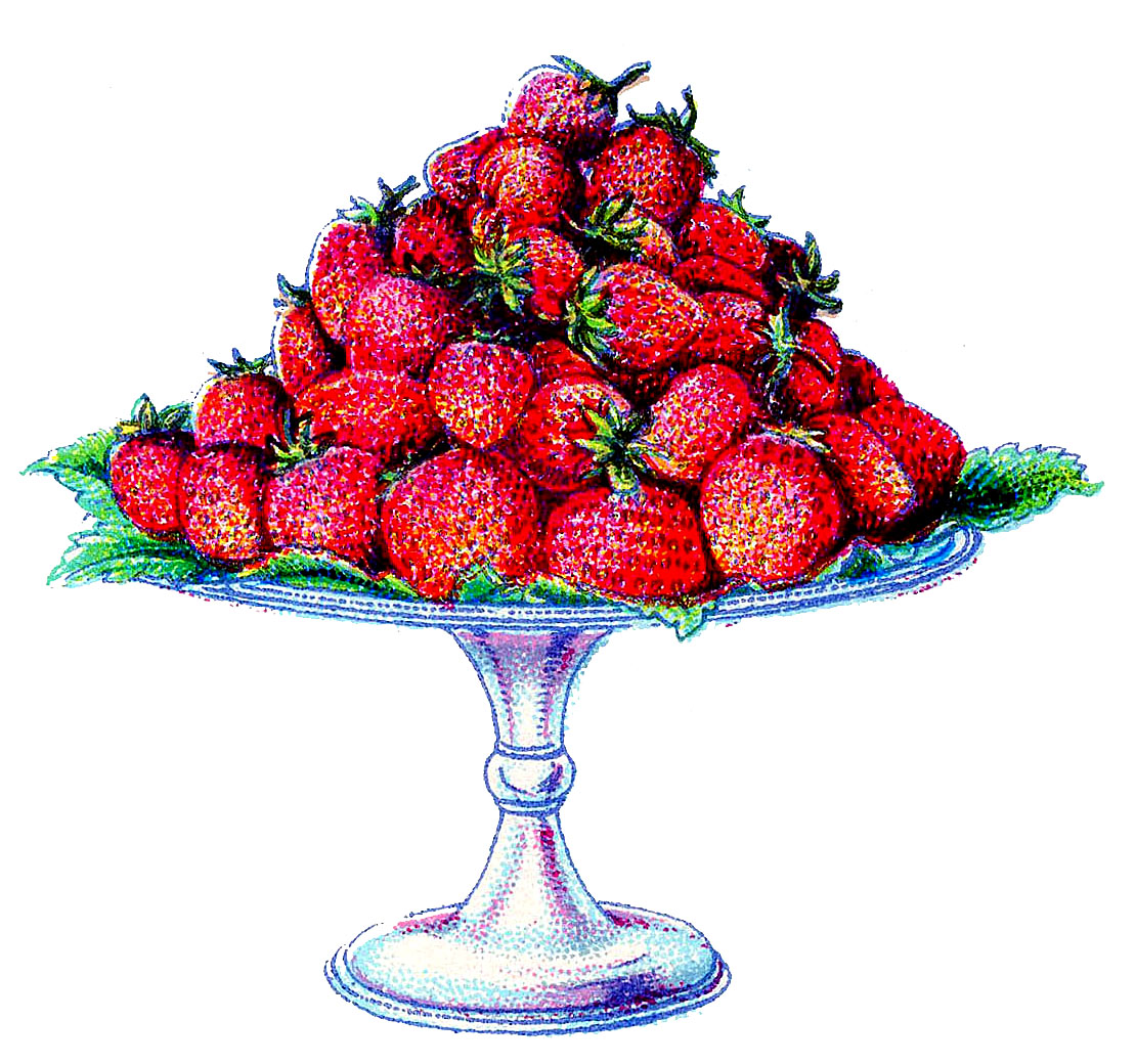 Vintage cake clipart transparent stock Vintage Clip Art - Strawberries on a Cake Plate - The Graphics Fairy transparent stock