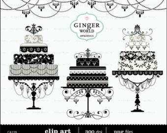 Vintage cake clipart graphic freeuse Birthday cake clip art – Etsy graphic freeuse