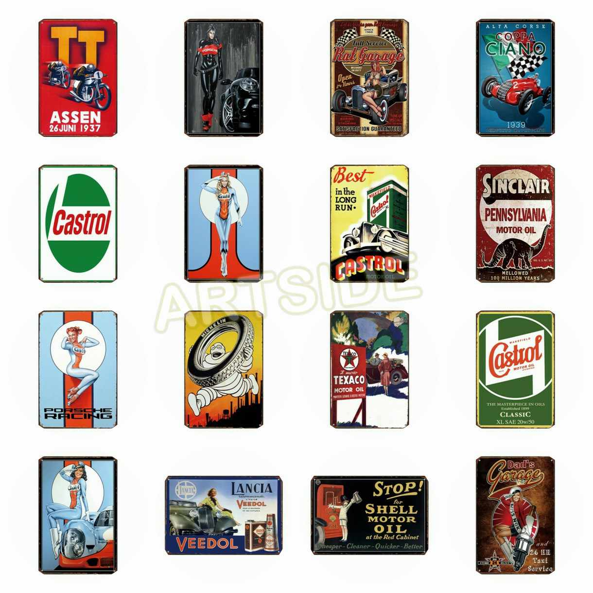 Vintage car signs clipart clipart black and white library Retro TEXACO Castrol Motor Oil TT ASSEN Motorcycle Car Gulf ... clipart black and white library