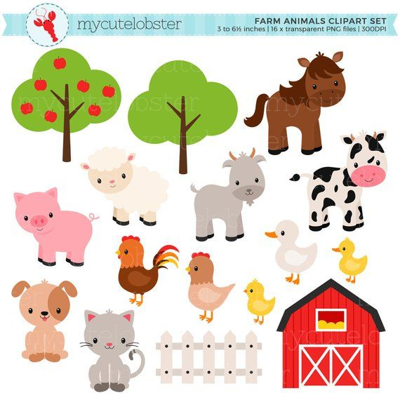 Vintage chic animal clipart jpg black and white Farm Animals Clipart Set - farm, barn, farmyard animals ... jpg black and white