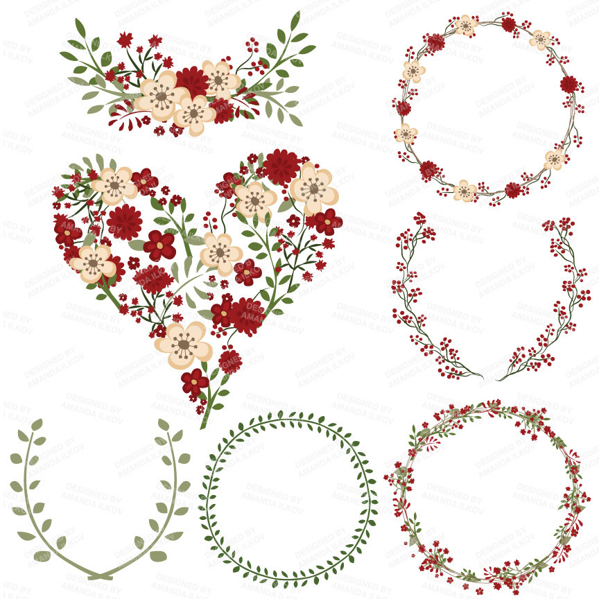 Vintage christmas heart clipart vector Free Floral Christmas Cliparts, Download Free Clip Art, Free ... vector