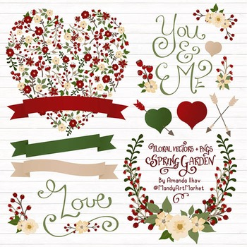 Vintage christmas heart clipart clip art stock Spring Garden Floral Heart Clipart in Traditional Christmas - Flower Vectors clip art stock