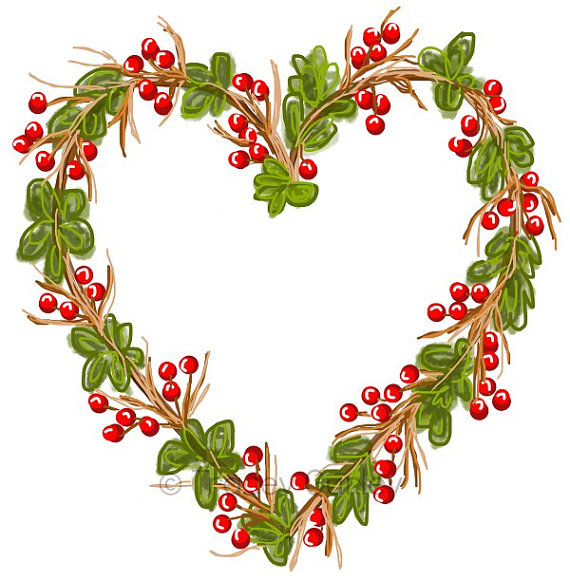 Vintage christmas heart clipart jpg royalty free library Grapevine Heart Wreath- Original art download 2 files ... jpg royalty free library