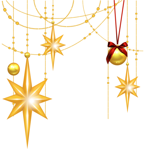 Vintage christmas ornament clipart graphic library stock Transparent Christmas Gold Stars and Ornament Clipart | Clipart ... graphic library stock