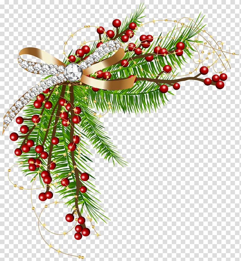 Vintage christmas pine rope clipart banner freeuse stock Green, red, and yellow Christmas decor illustration ... banner freeuse stock