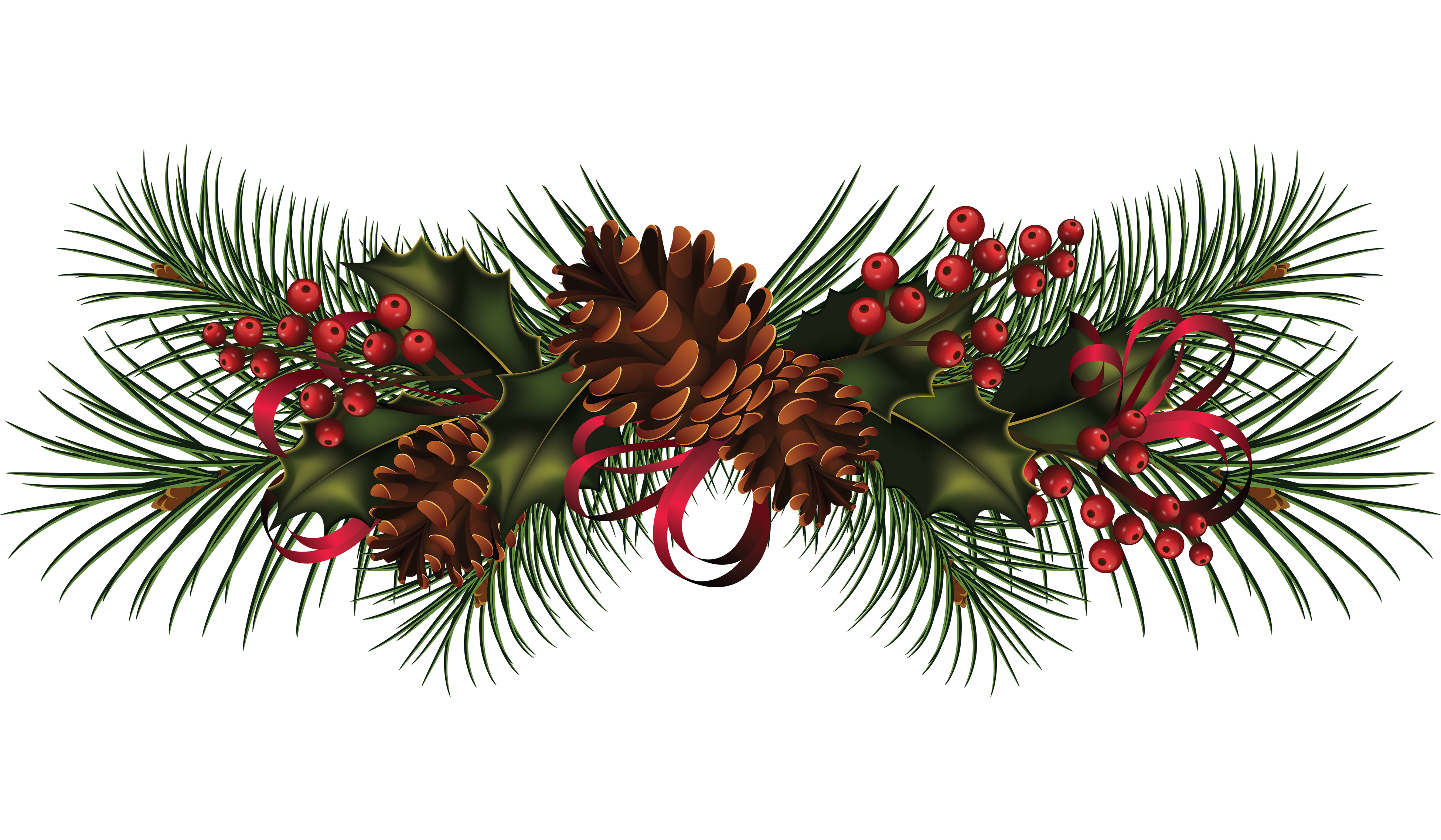 Vintage christmas pine rope clipart banner transparent download Garland clipart free download on WebStockReview banner transparent download