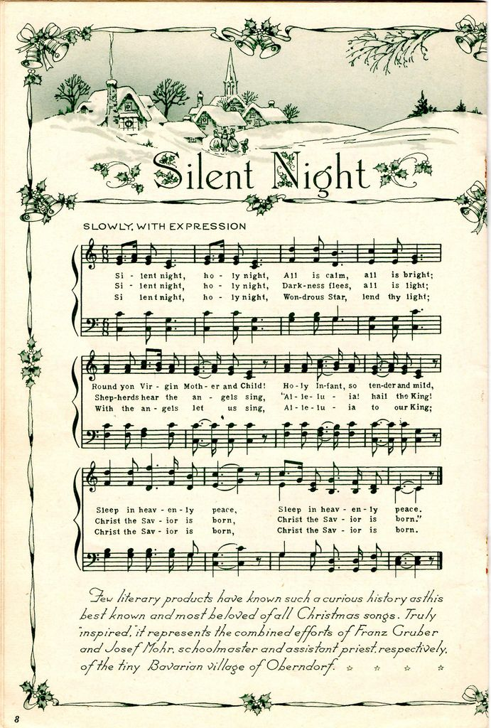Vintage christmas sheet music clipart stock Silent Night | Christmas | Christmas sheet music, Christmas ... stock