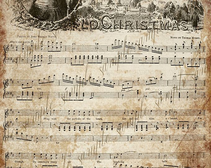 Vintage christmas sheet music clipart clip art royalty free download Grungy Aged Vintage Christmas Carol Music Digital Sheet ... clip art royalty free download