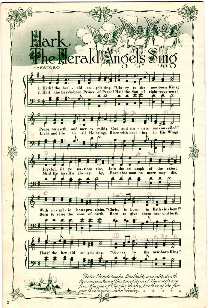 Vintage christmas sheet music clipart image royalty free library Hark The Herald Angels Sing | sheet music ideas | Christmas ... image royalty free library