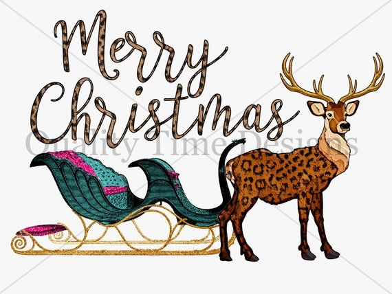 Vintage christmas sleigh clipart clip library download Transfer Design Download - Merry Christmas Vintage leopard ... clip library download