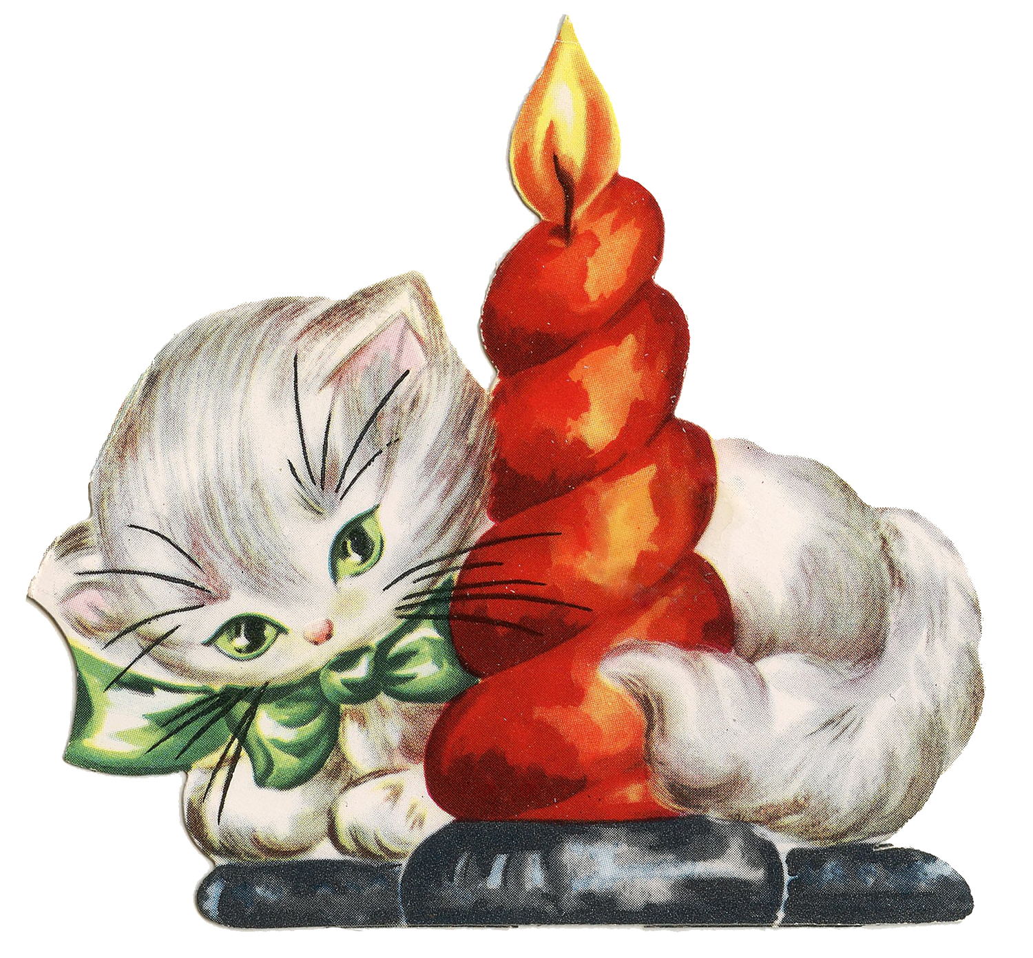 Vintage christmas small clipart png free Retro Christmas Clip Art - Kitten with Candle - The Graphics ... png free