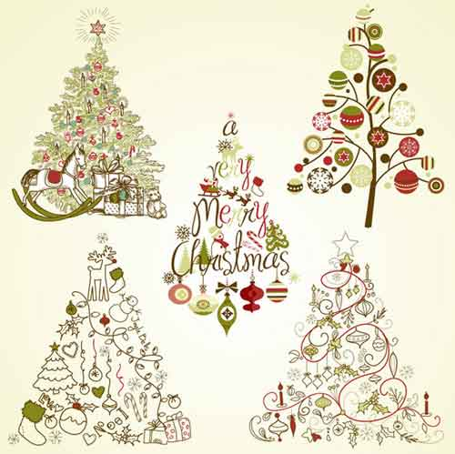 Vintage christmas tree clipart free vector download Christmas Tree Clip Art: 30 Sets of Free Vector Graphics vector download