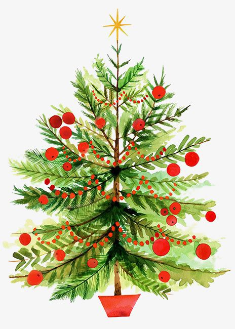 Vintage christmas tree clipart free royalty free stock Hand-painted Watercolor Christmas Tree, Watercolor Clipart ... royalty free stock