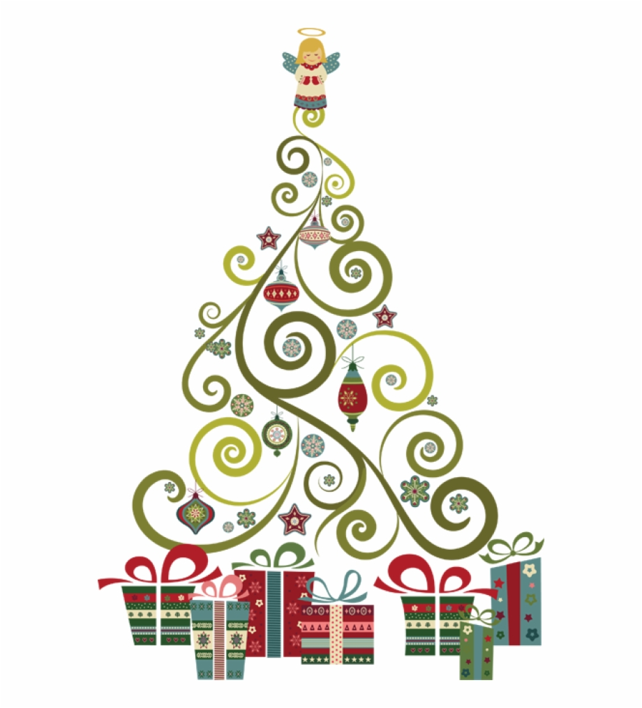 Vintage christmas tree clipart free png library Vintage Christmas Tree Vector - Clipart Abstract Christmas ... png library