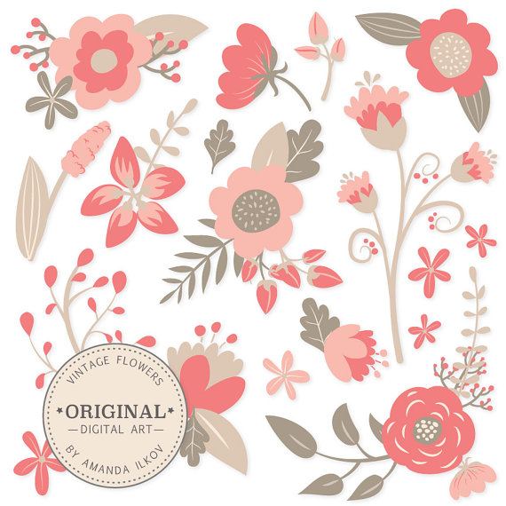 Vintage clip art flowers picture royalty free Premium Vintage Floral Clipart & Flower Vectors - Coral Flowers ... picture royalty free