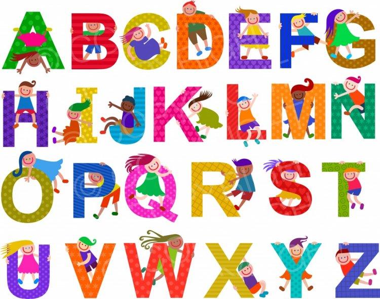 Vintage clipart alphabet clipart royalty free library Happy Kids Alphabet Letters – Prawny Clipart Cartoons ... clipart royalty free library