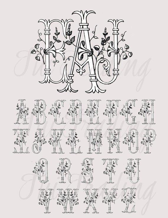 Vintage clipart alphabet clipart black and white Monogram Typography, Alphabet Clipart, Antique Letters ... clipart black and white
