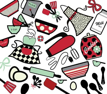 Vintage clipart baking graphic freeuse download Vintage Baking Clipart Set graphic freeuse download