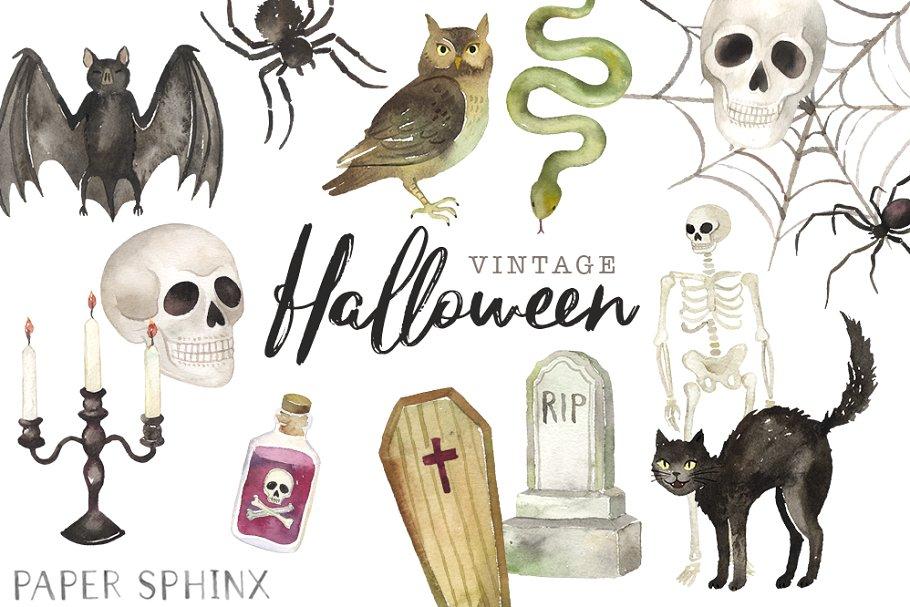 Vintage clipart halloween graphic free Vintage Halloween Clipart Pack graphic free