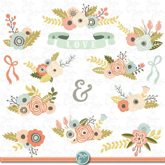 Vintage wedding bouquet clipart picture library library Flowers Clipart Pack \