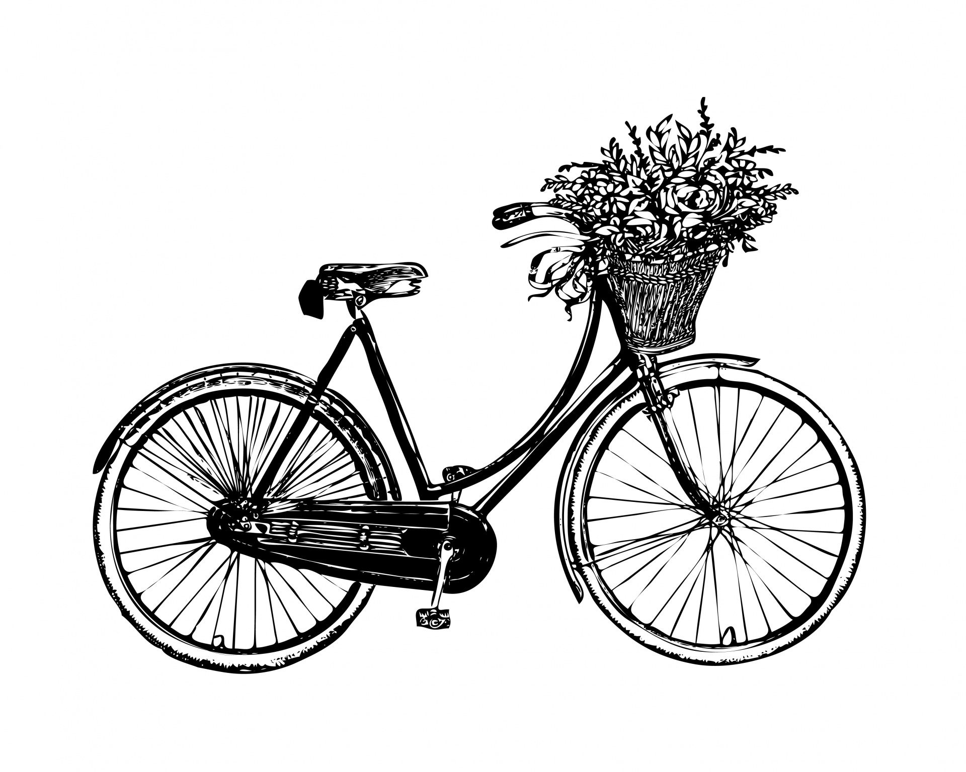 Vintage clipart public domain jpg free download Bicycle Flowers Vintage Clipart Free Stock Photo - Public ... jpg free download