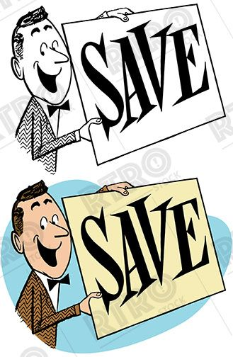 Vintage clipart sale ad graphic free stock A smiling man holds up a big sign advertising a sale vintage ... graphic free stock