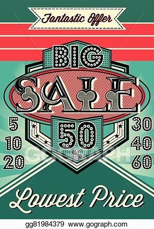 Vintage clipart sale ad clip art royalty free Vector Clipart - Template vector vintage poster for . Vector ... clip art royalty free