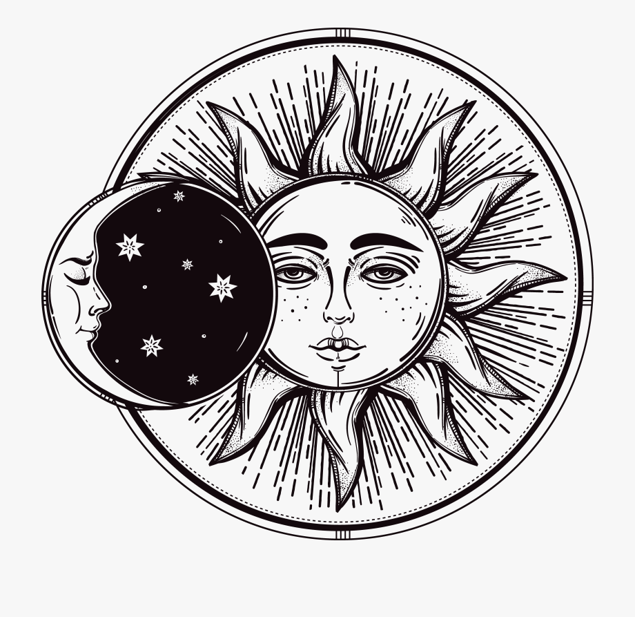 Vintage clipart sun moon black and white image black and white library Drawn Lunar Sun Moon - Luna Y Sol Vintage, Cliparts ... image black and white library