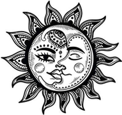 Vintage clipart sun moon black and white banner freeuse library Pretty Black and White Boho Gypsy Tribal Cartoon Icon Vinyl Decal Sticker  (4\