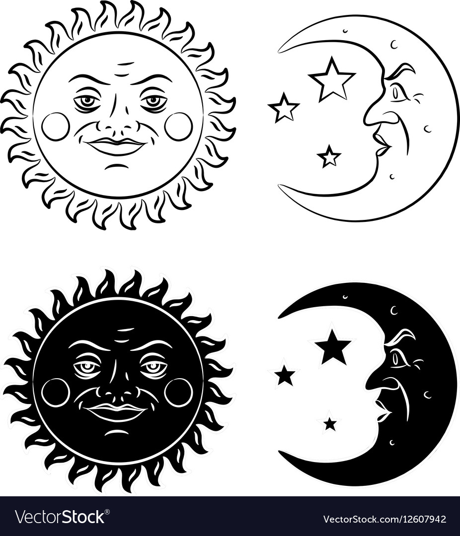 Vintage clipart sun moon black and white