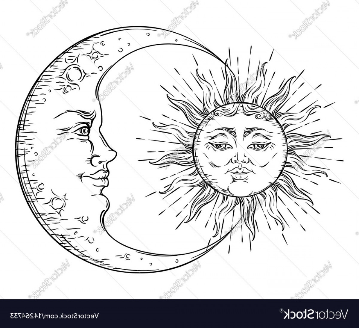 Vintage clipart sun moon black and white download Antique Hand Drawn Art Sun And Crescent Moon Vector   SOIDERGI download