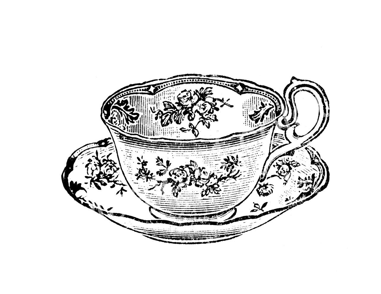 Vintage clipart tea clip black and white download Vintage Tea Cup Clipart - Clip Art Library clip black and white download