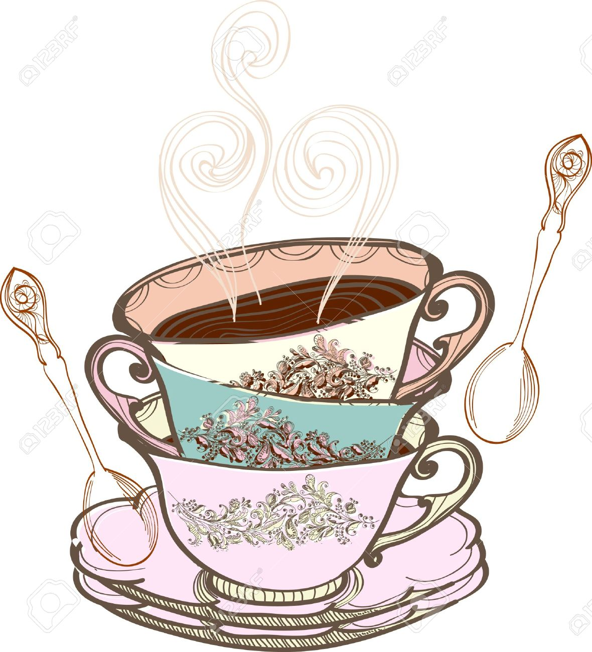 Vintage clipart tea graphic royalty free library Vintage afternoon tea clipart 5 » Clipart Station graphic royalty free library