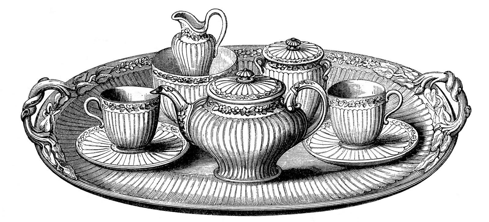 Vintage clipart tea clip art royalty free library Vintage Clip Art - Tea Set with Platter - The Graphics Fairy clip art royalty free library