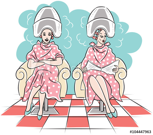 Vintage clipart two women graphic royalty free download Retro vector line art drawing of two women with hair rollers ... graphic royalty free download