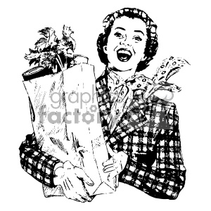 Vintage clipart woman svg black and white vintage woman holding bag of groceries vintage 1900 vector art GF clipart.  Royalty-free clipart # 402519 svg black and white