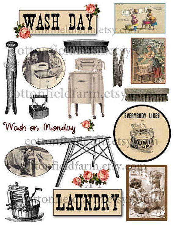 Vintage clothesline clipart transparent library Vintage Laundry Art And Also Vintage Laundry Wash Day Clip ... transparent library
