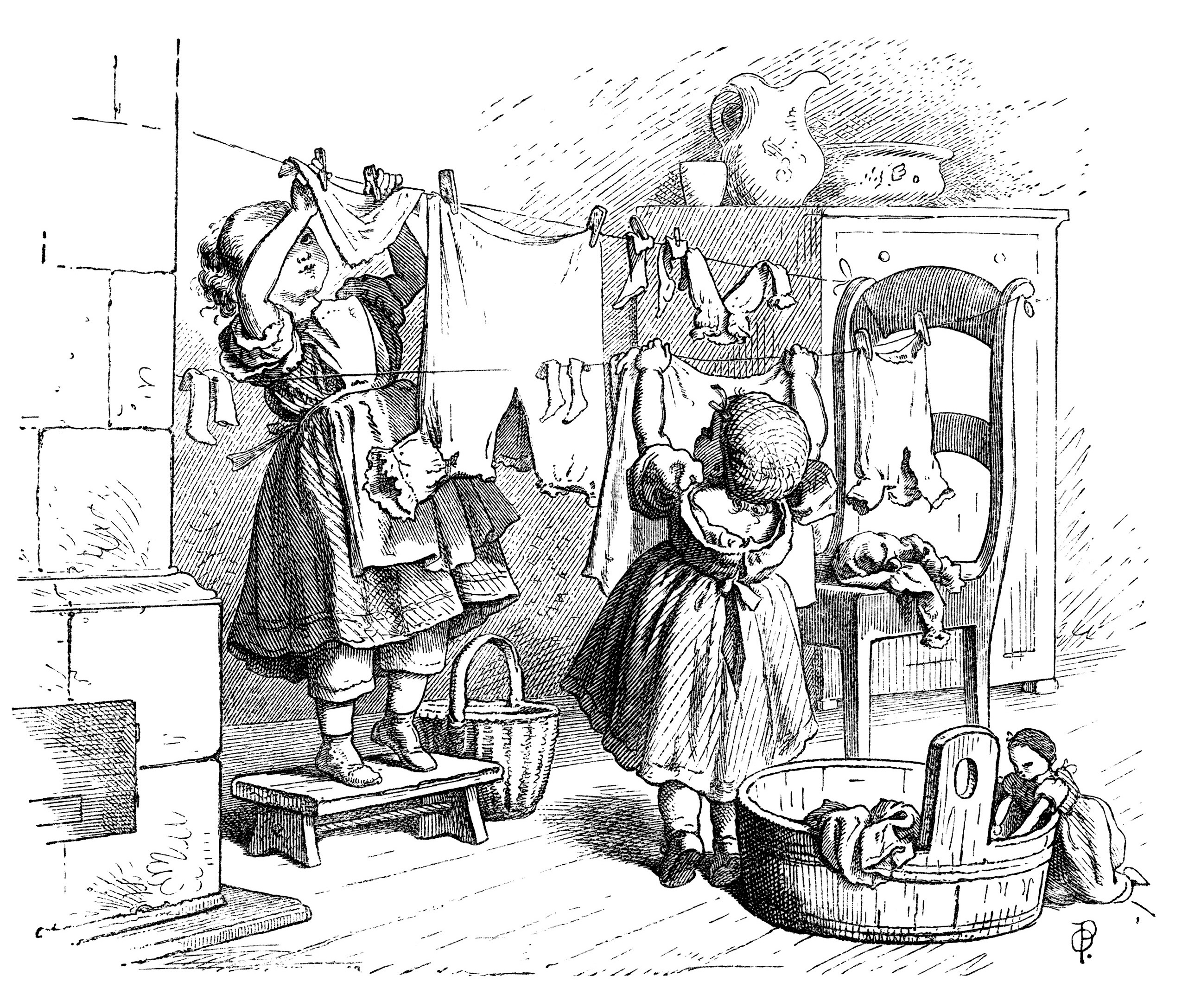 Vintage clothesline clipart banner black and white stock Hanging Doll Clothes - Old Design Shop Blog banner black and white stock