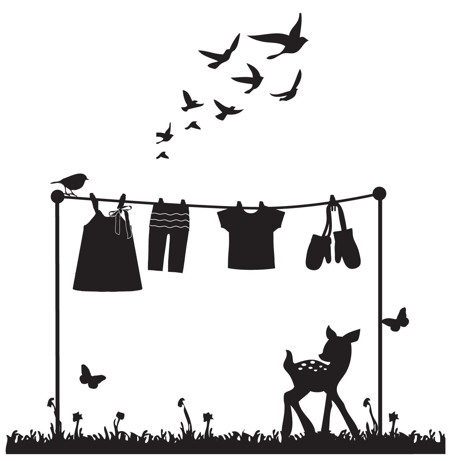 Vintage clothesline clipart graphic transparent Clothes Line Art Group with 81+ items graphic transparent